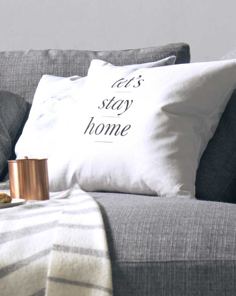 Printed Cushion - Let's Stay Home