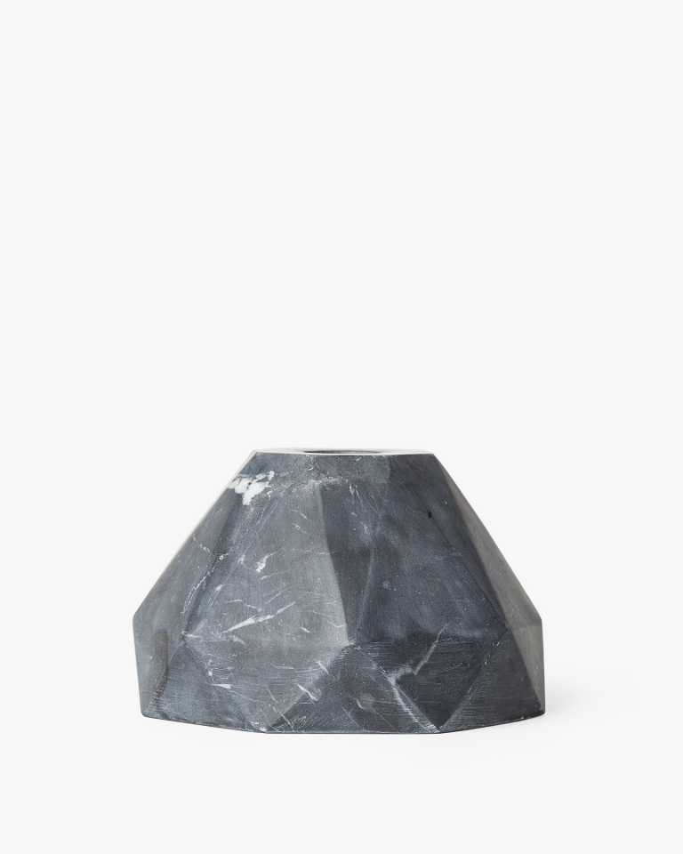 Marble Candle Holder - Black 3""