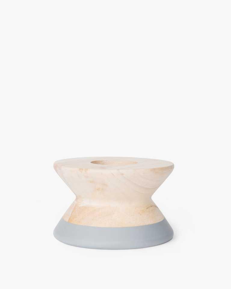 Rubberwood Candle Holder - Grey