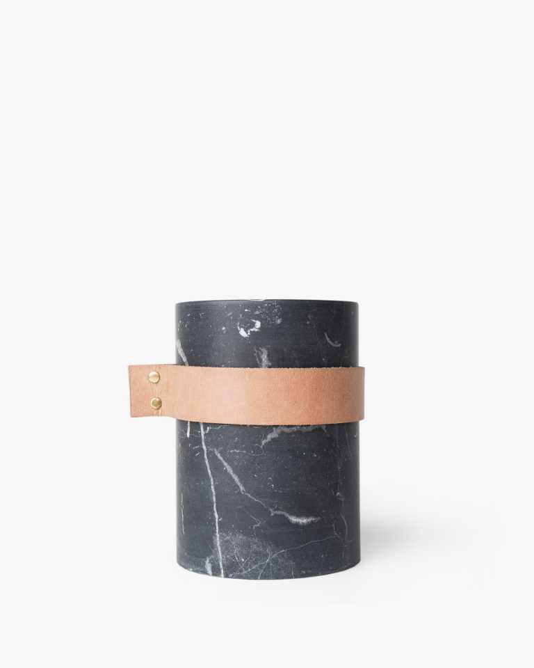 "Strapped Marble Vase - Black 8"""