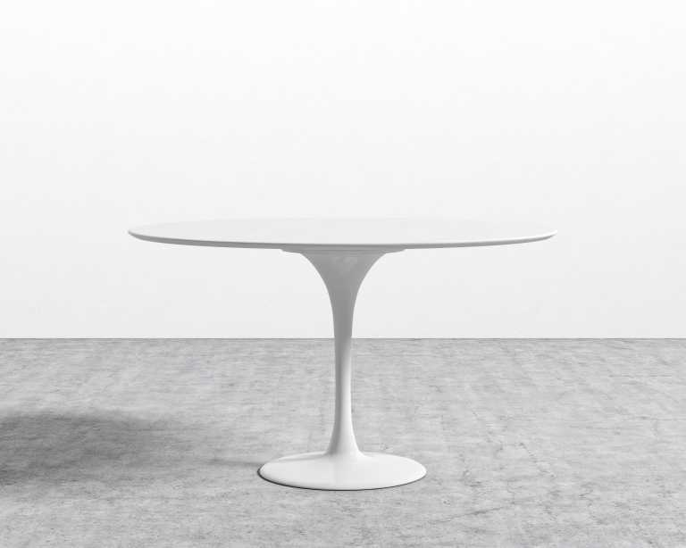White laquer furniture Contemporary French Dining Rove Concepts Tulip Table Round Lacquer Rove Concepts