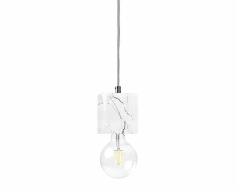 Bare Bulb Marble Pendant - White