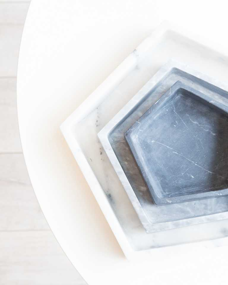 Hex Marble Tray - Grey