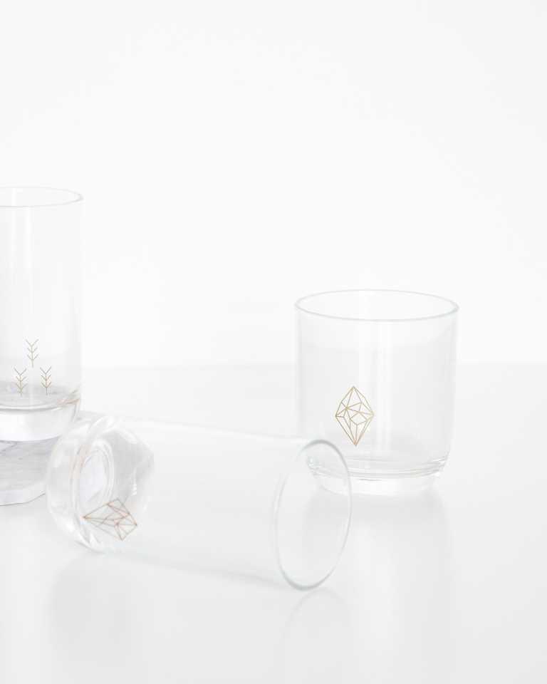 Decorated Lowball Glass - Diamond
