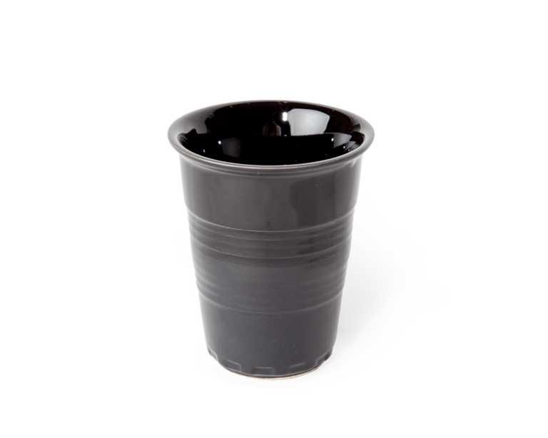 ceramic coffee cup  black  mid century modern - kure