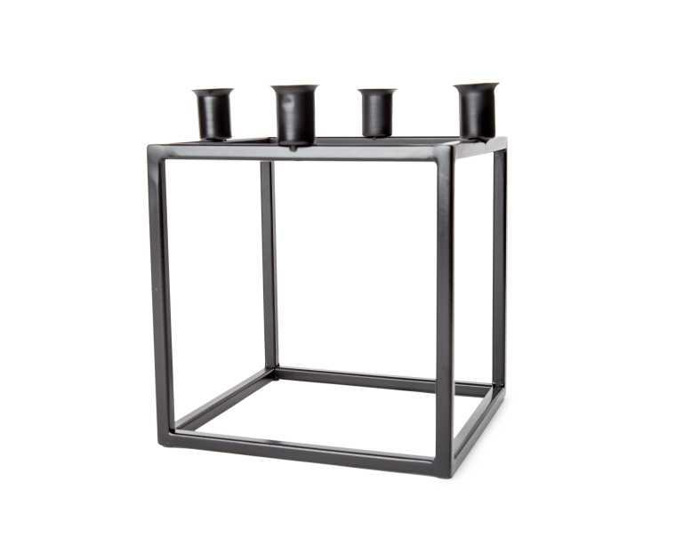 quad metal candle holder  black  mid century modern -  quad metal candle holder  black kure